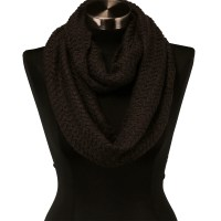 Dark Brown Wavy Cable Knit Stitch Warm Winter Infinity ...