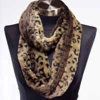 Faux Fur Leopard Animal Print Infinity Scarf Circle Cowl ...
