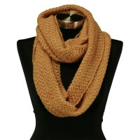 Gold Yellow Wavy Cable Knit Stitch Warm Winter Infinity ...