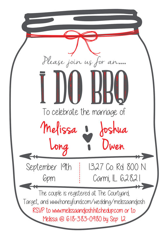 Fall in love with this I Do BBQ Wedding Reception - i do bbq wedding invitations