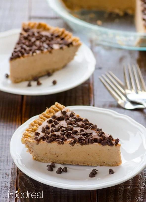 Paleo No-Bake Peanut Butter/Chocolate Pie
