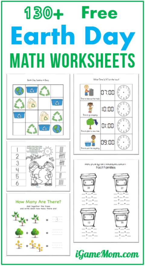 130+ Free Earth Day Math Printable Worksheets for Kids