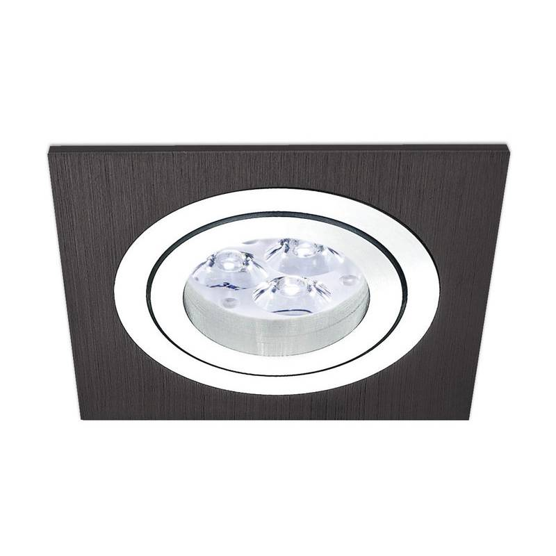 Salon Moderno Barato Foco Empotrable Led 6w Cuadrado Negro - Maslighting