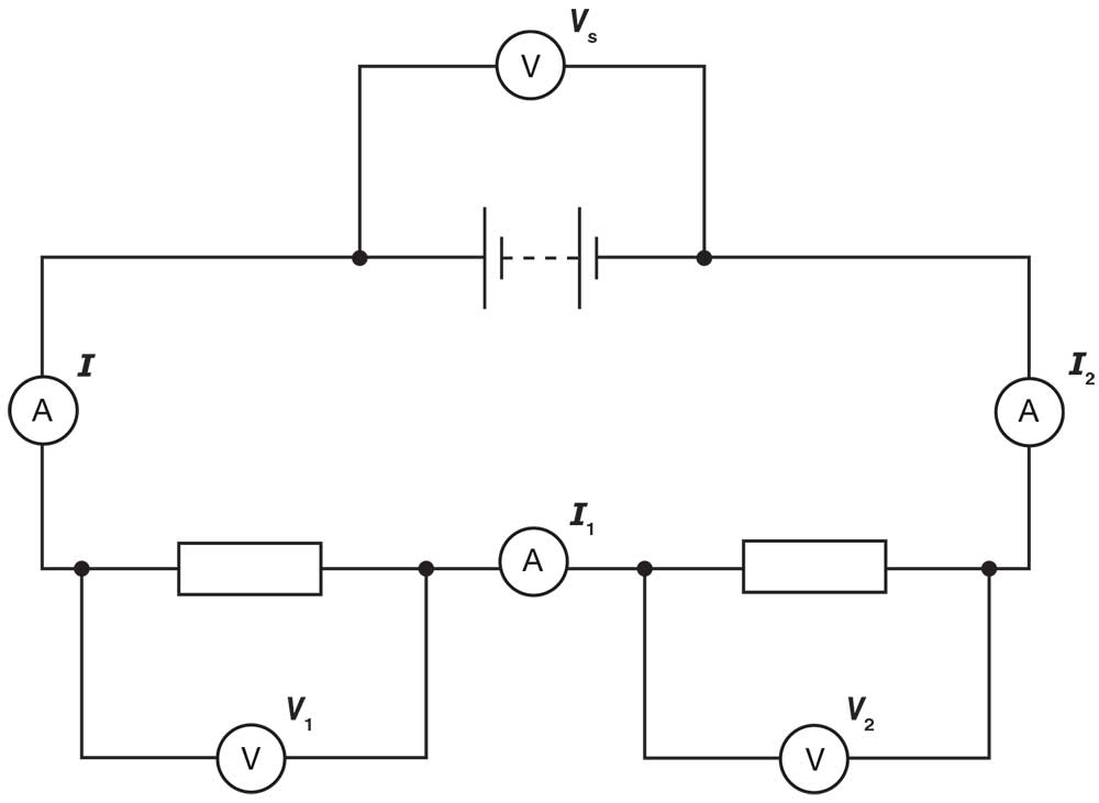electricity what are the voltages across components in a series