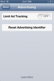 New Ad Tracking Options under About