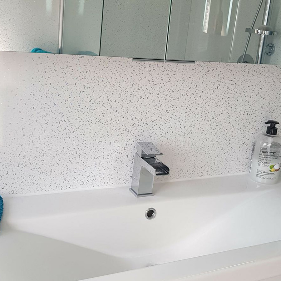 White Sparkle Shower Wall Panel Igloo Surfaces