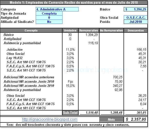Liquidación Julio 2010 para empleados de Comercio - Ejemplo de recibo