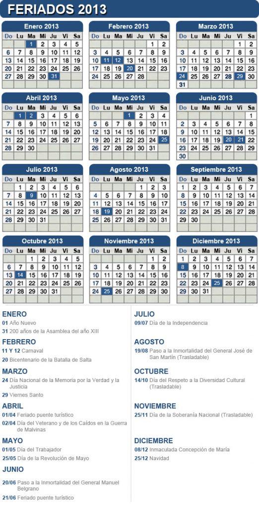 Calendario de feriados 2013 - 19 feriados y 7 fines de semana largos
