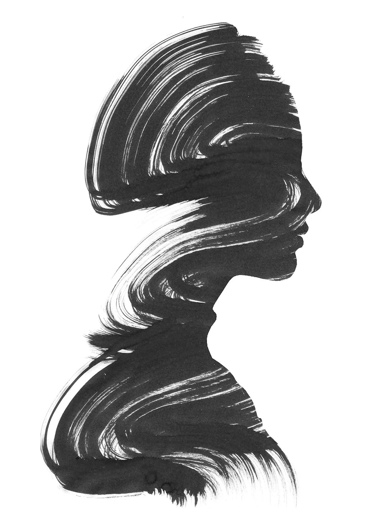 Art Print Black And White Double Exposure Portraits By Andreas Lie Ignant