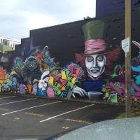 Alice In Wonderland Graffiti Mural - Public Art in Tacoma