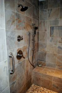 Easy care 12-inch tiles were used for the walls and shower ...