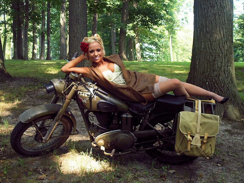 Army Pin Up Girl Wallpaper Quot Dawn On A Matchless Motorcycle Quot By Libertycalendar