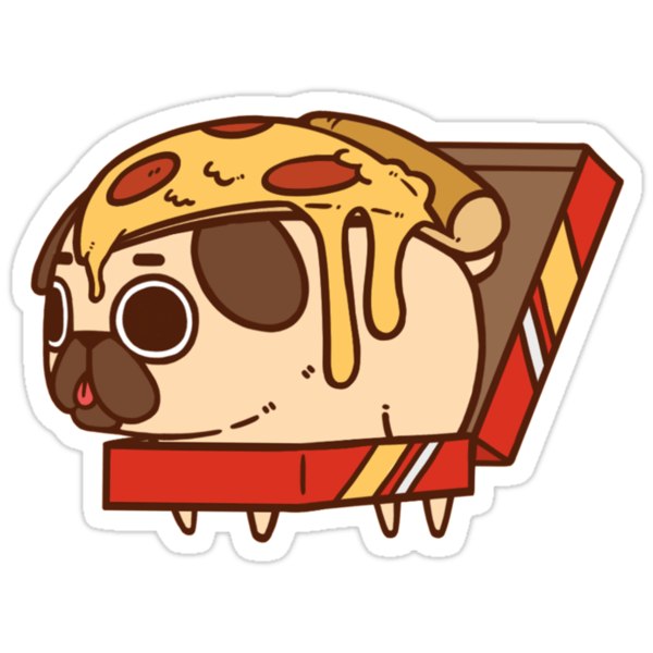 Animal Removable Wallpaper Quot Puglie Pizza Quot Stickers By Puglie Pug Redbubble