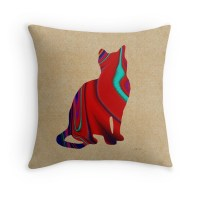 """Red Sitting Textured Cat"" Throw Pillows by Bamalam Art ..."