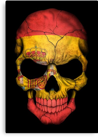 "Clocks ""spanish Flag Skull"" Canvas Print By Jeffbartels 