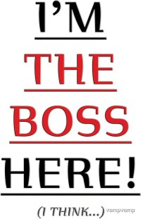 """i'm the boss here!"" Stickers by vampvamp"