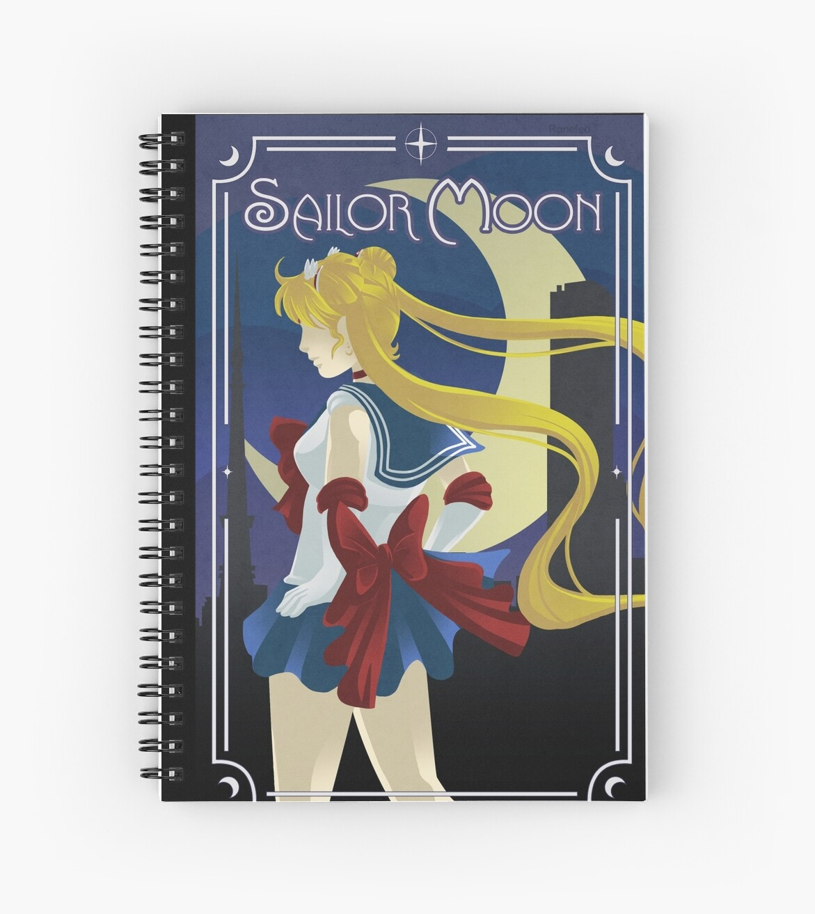 Art Deco Style Notebook Art Deco Style Sailor Moon Spiral Notebook By Ranefea
