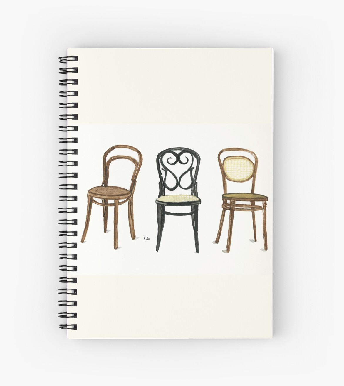 Thonet Jobs Thonet Chairs Watercolor Painting Spiral Notebook By Eugenia Alvarez