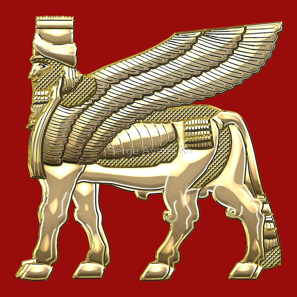 "Duvet Covers Canada ""babylonian Winged Bull Lamassu [gold]"" By Serge Averbukh"