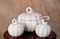 """White Pumpkin Soup Bowl with Serving Bowls"" by Sherry ..."