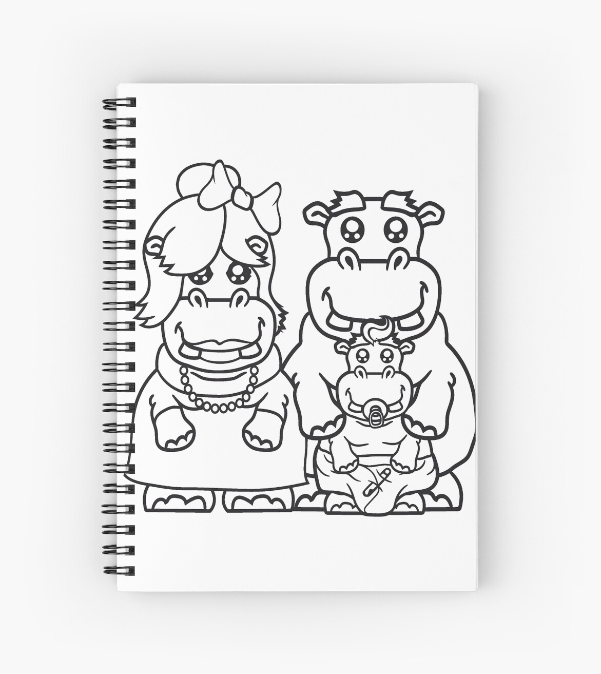 Cartoon Witzige Happy Dad Mom Family Offspring Parents Baby Pacifier Little Funny Sweet Cute Fat Comic Cartoon Hippopotamus Fat Hippo Spiral Notebook By