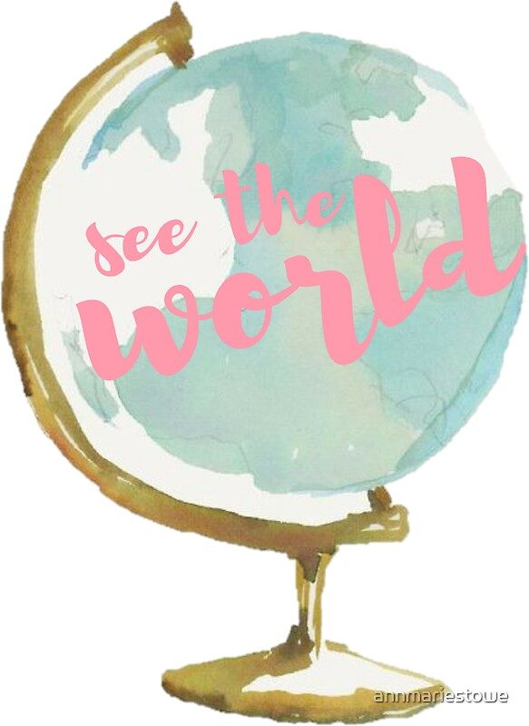 Iphone X Wallpaper With Border Quot See The World Watercolor Globe Quot Stickers By Annmariestowe