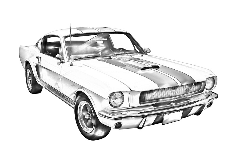 Classic Car Wallpaper For Bedrooms Quot 1965 Gt350 Mustang Muscle Car Illustration Quot Posters By