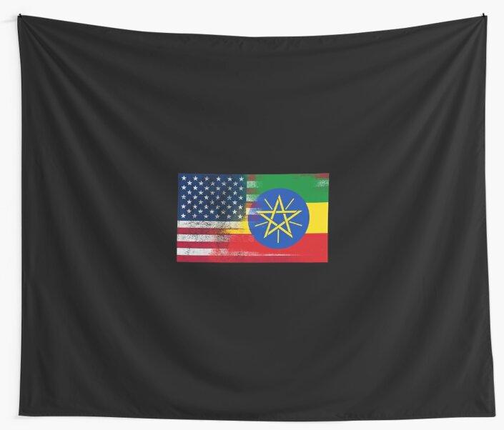 Ethiopian American Half Ethiopia Half America Flag\