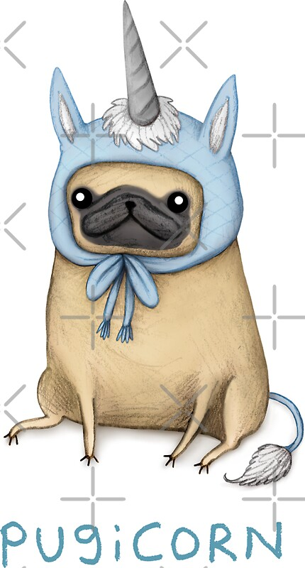 Cute Pug Wallpaper Cartoon Quot Pugicorn Fawn Quot Stickers By Sophie Corrigan Redbubble