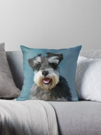 """""""Miniature Schnauzer Dog Water Color Art Painting"""" Throw ..."""