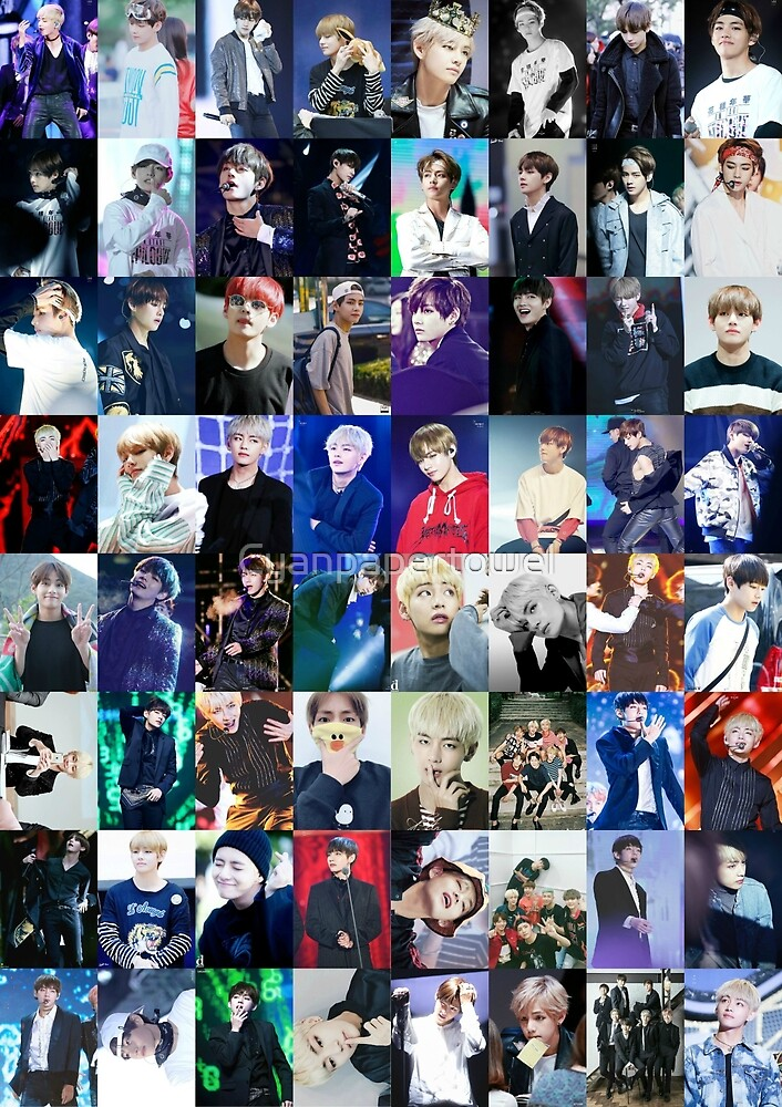 Wallpaper Hd Cute For Men Quot Bts Kim Taehyung V Collage Quot By Cyanpapertowel Redbubble