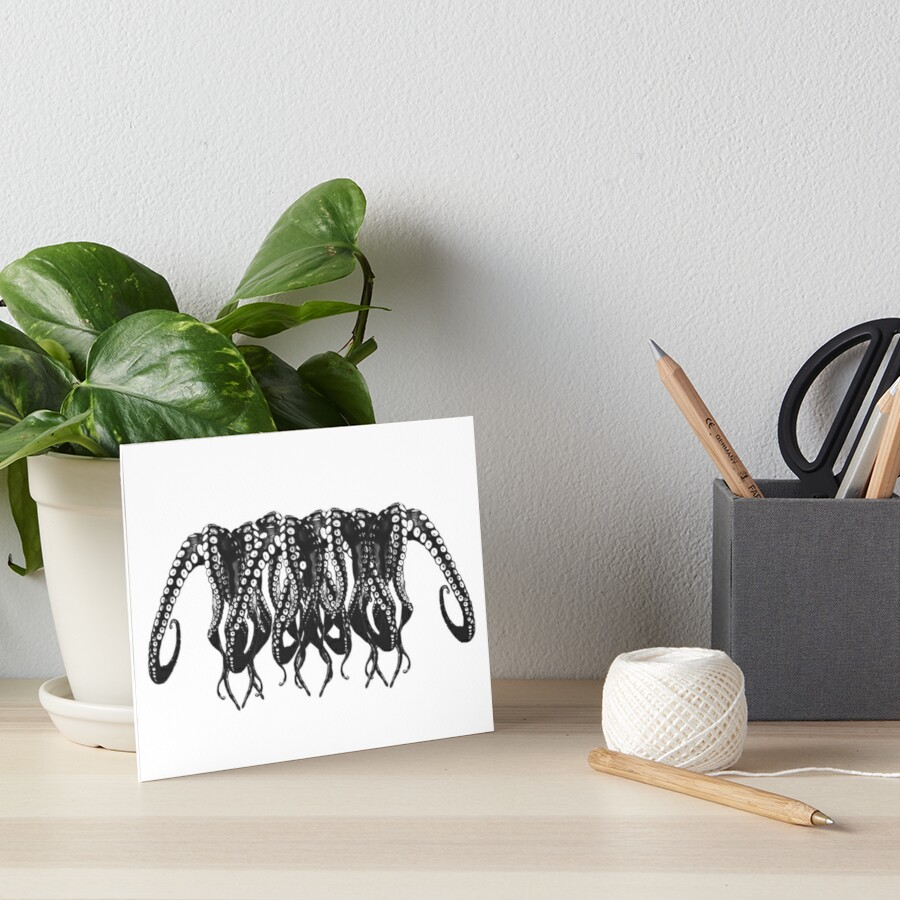 Cool Octopus Art Octopus Black And White Tentacle Monster 1 Art Board By Cool Shirts