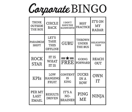 Corporate Jargon Buzzword Bingo Card\