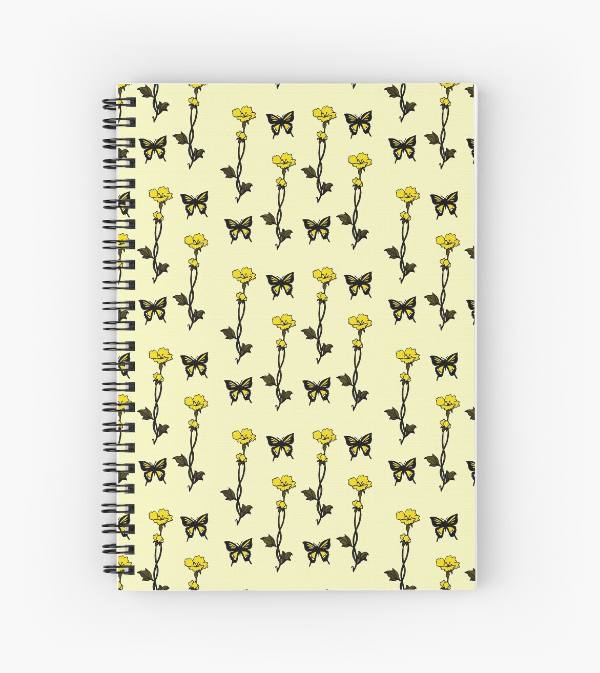 Art Nouveau Yellow Yellow Butterflies Flowers Art Nouveau Spiral Notebook By Linda Callaghan