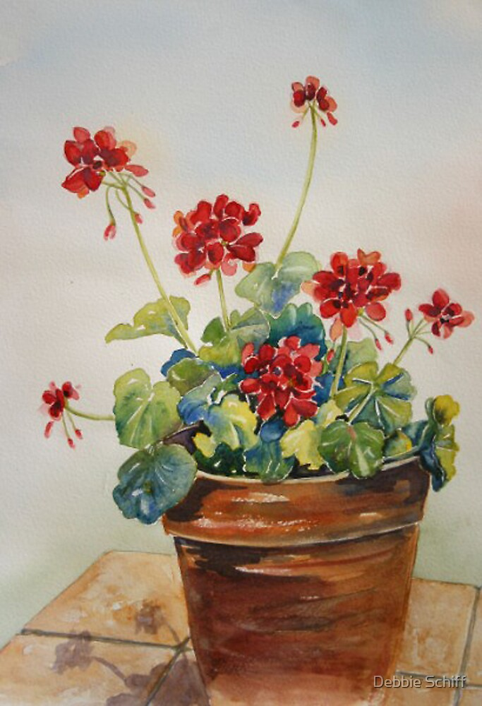 "Duvet Covers ""geraniums In A Clay Pot"" By Debbie Schiff 