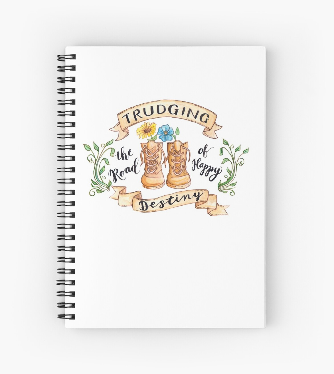 Notebook Weiß Trudging The Road Of Happy Destiny Spiral Notebook By Joann Weiss