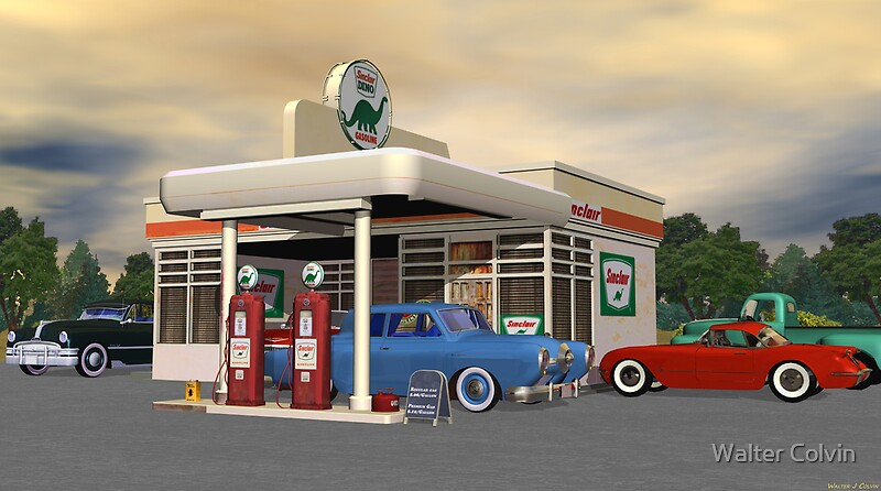 Classic Car Wallpaper For Bedrooms Quot 1950 S Gas Station Quot Posters By Walter Colvin Redbubble