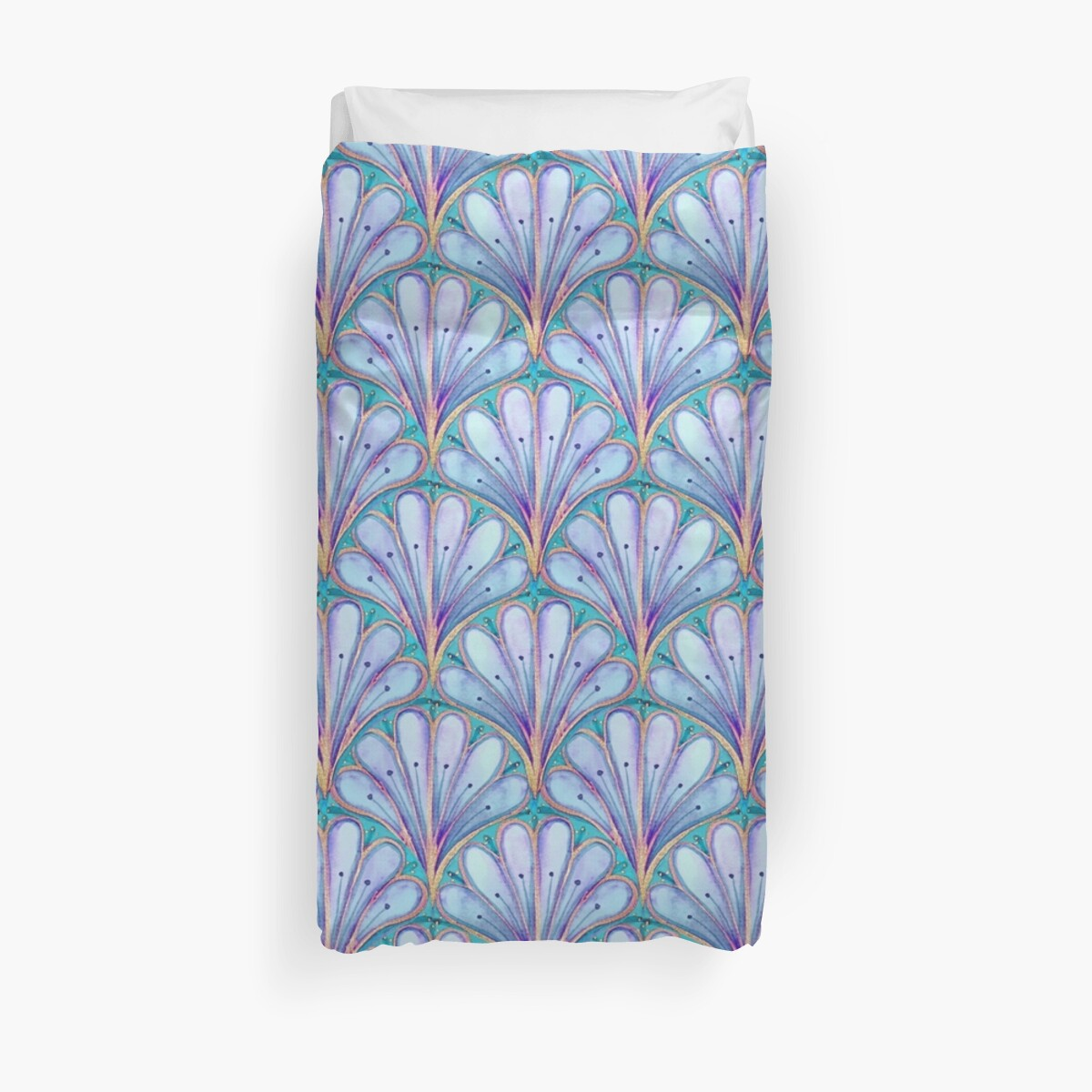 Art Deco Home Accessories Art Deco Fan Pattern Watercolor Blue Seashell Pattern Duvet Cover By Magentarose