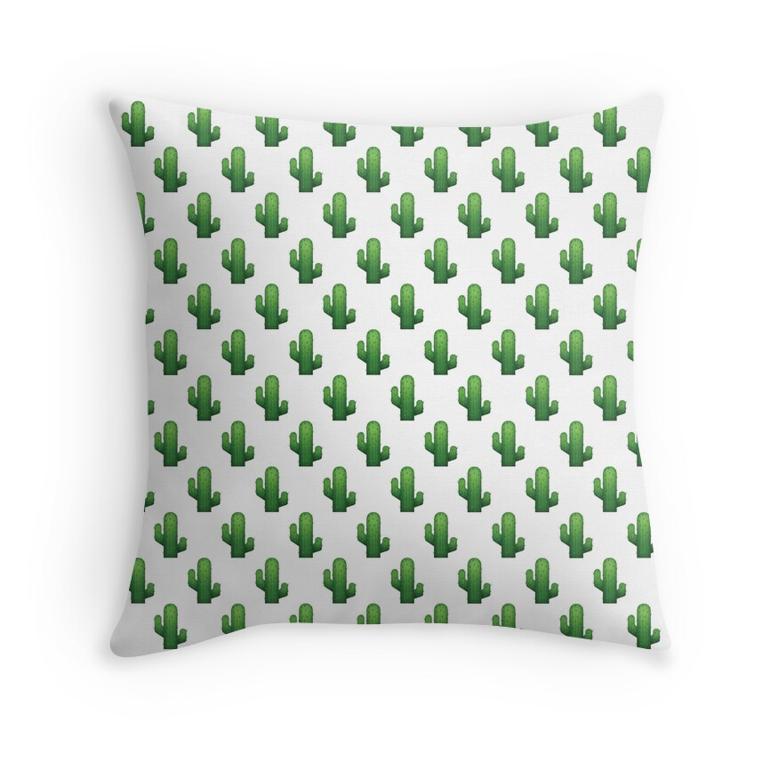 """Cactus emoji land"" Throw Pillows by gnarlynicole"