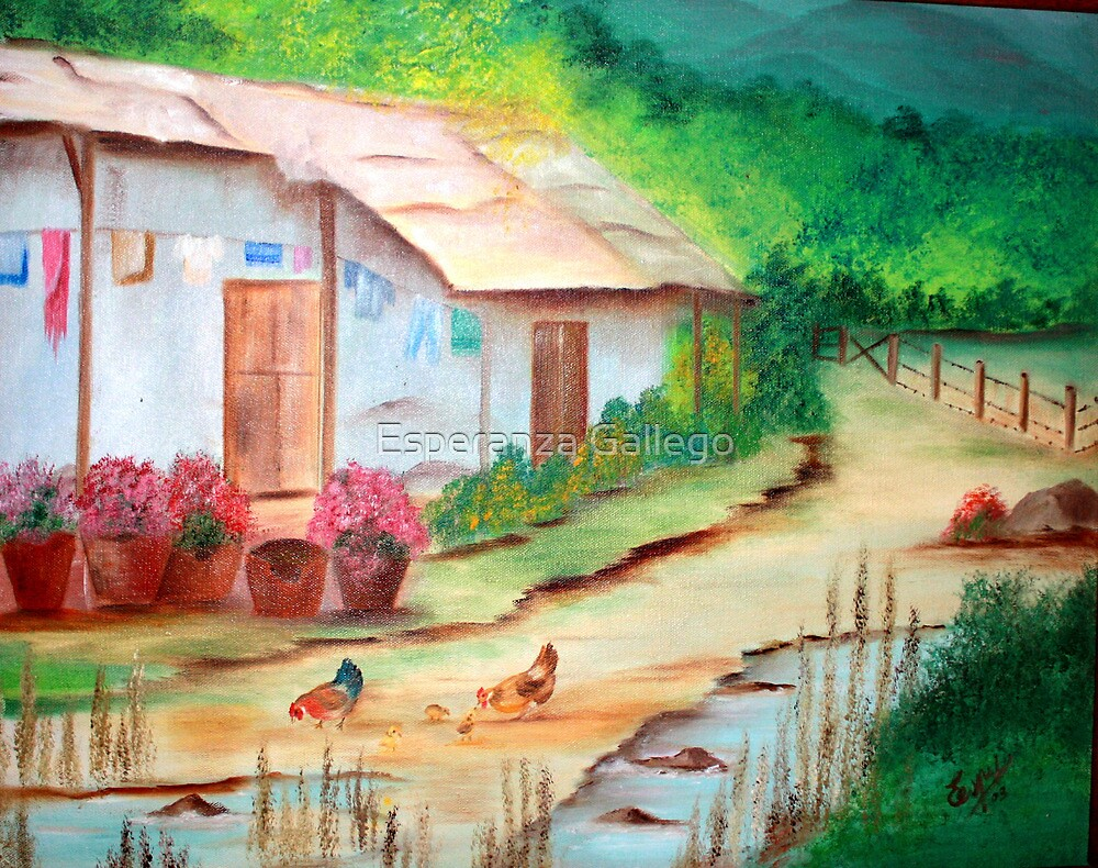 "Pinturas Ega ""little House In The Country-oil Painting"" By Esperanza"