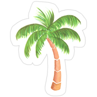 """""""Tropical Palm Tree - Watercolor"""" Stickers by ..."""