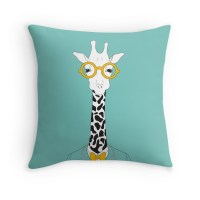 """""""Hipster Giraffe"""" Throw Pillows by aprilcharisse 