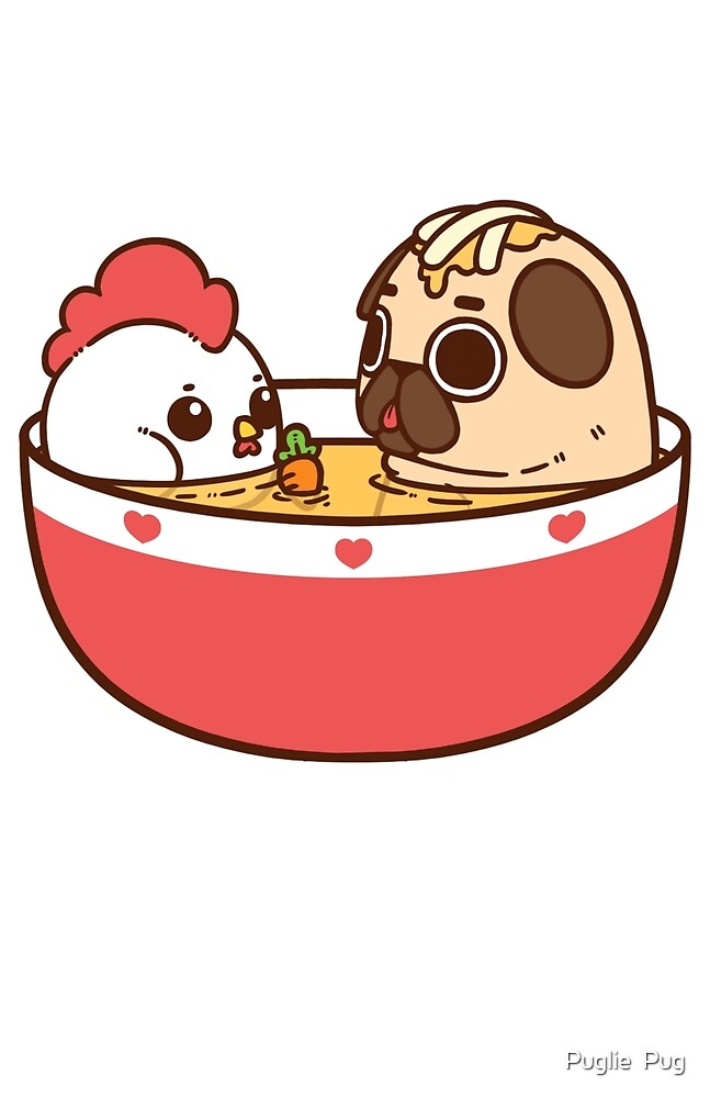 Cute Wallpapers Drawing Quot Chicken Noodle Puglie Quot By Puglie Pug Redbubble