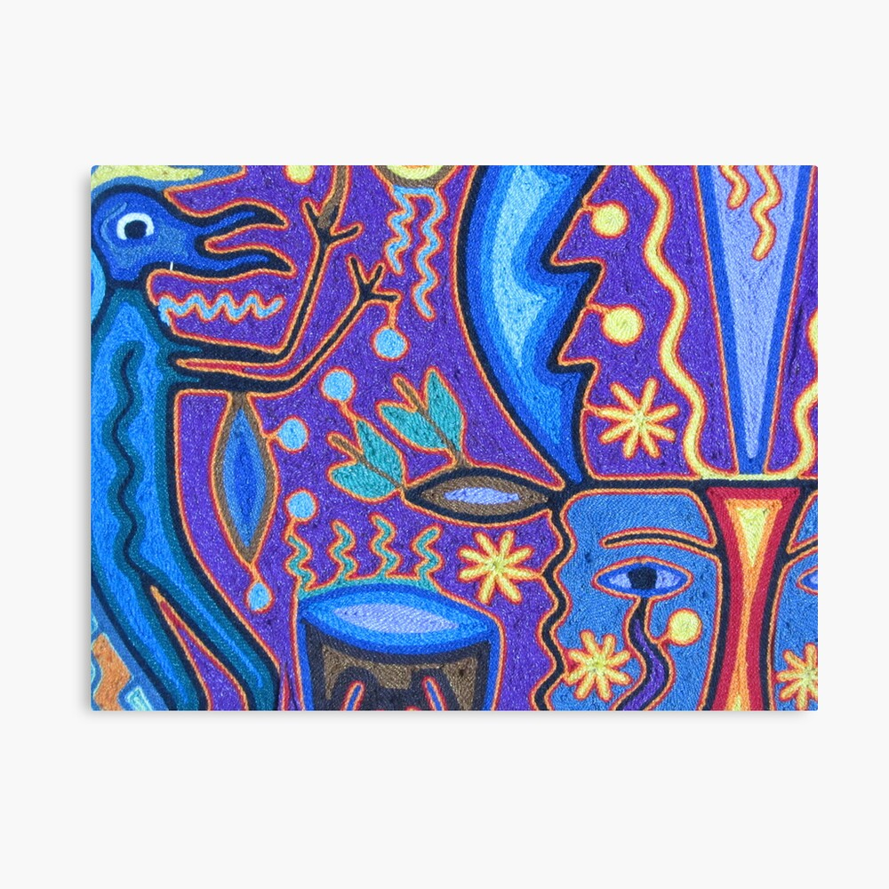 Arte Huichol Mexico Huichol Art With Strings Puerto Vallarta Mexico Arte Huichol Metal Print
