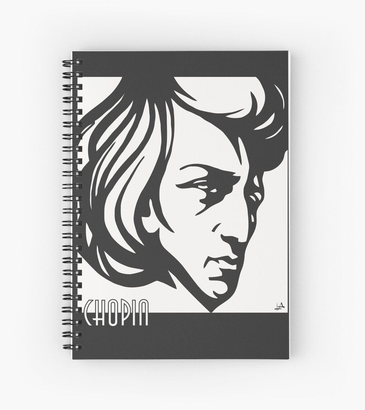 Art Deco Style Notebook Chopin Modern Art Deco Style Spiral Notebook By Aapshop