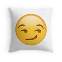 """Smirking Face - Emoji"" Throw Pillows by AGirlDrummer ..."