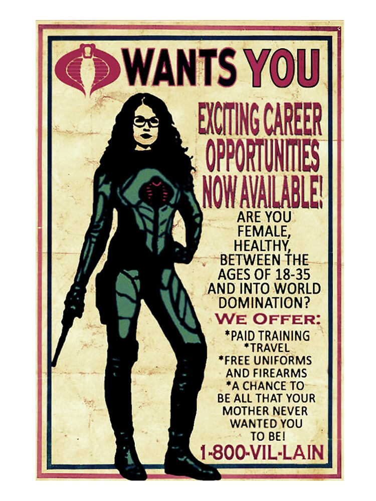 Pull Over Hoodie Cobra Recruiting Poster Featuring The Baroness G I Joe