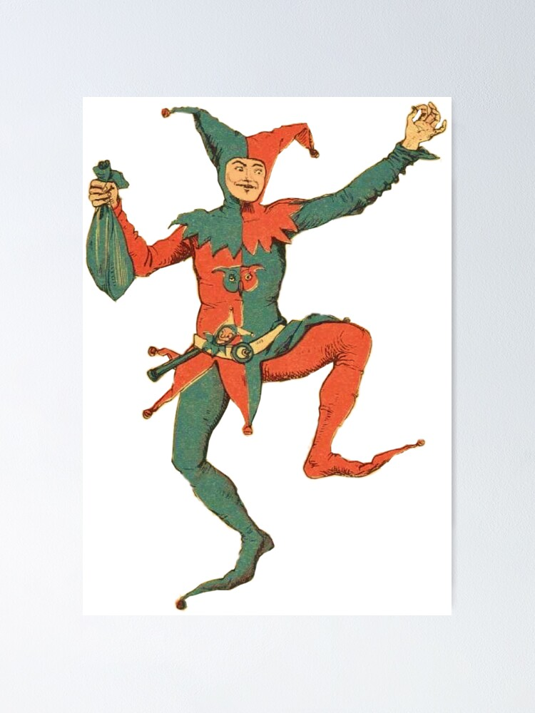 Red Jester Makeup Court Jester Poster By Tickleart Redbubble