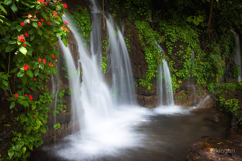 "Duvet Covers ""jungle Waterfall And Flowers At Juayua, El Salvador"" By"