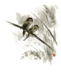 """""""Sparrows sumi-e bird birds on branches original ink ..."""